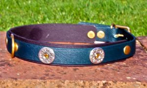 Large BETA® Green Dog Collar With BETA® Black Underlay, Florentine Conchos and Amber Rivets-0