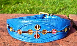 Medium Blue Lamb Nappa Leather Dog Collar With Gold Beads-0