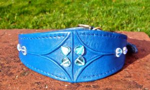 Medium Blue Lamb Nappa Leather Dog Collar With Marino Wool Lining And Hearts-0