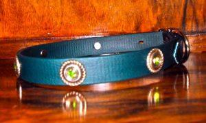 Small BETA® Dark Green Dog Collar With Rope Conchos and Green Rhinestones-0