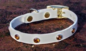 Extra Small Translucent White Dog Collar With Amber Rhinestones-0