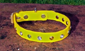 Small BETA® Yellow Dog Collar With Clear, Green And Amber Rhinestones-0