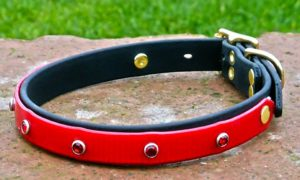 Medium Translucent Red Dog Collar With BETA® Black Underlay, and Red Bling-0