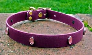 Large BETA® Burgundy Dog Collar With Indian Eye Pink Diamond Conchos-0